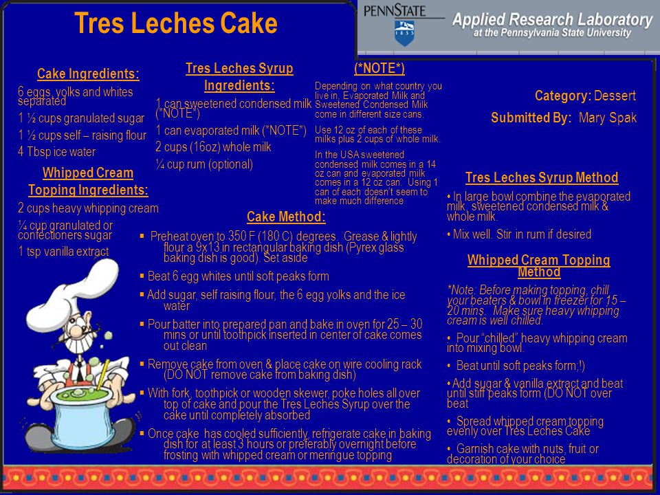 Tres Leches Cake Category: Dessert Cake Ingredients: 6 eggs, yolks and whites separated 1 ½ cups granulated sugar 1 ½ cups self – raising flour 4 Tbsp ice water Cake Method:  Preheat oven to 350 F (180 C) degrees.