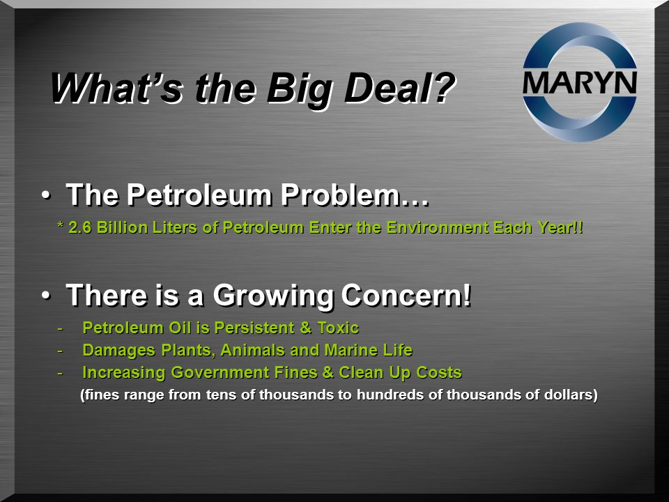 What's the Big Deal. The Petroleum Problem… There is a Growing Concern.