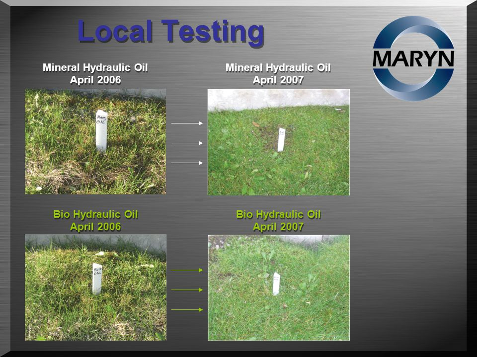 Local Testing Mineral Hydraulic Oil April 2006 Bio Hydraulic Oil April 2006 Bio Hydraulic Oil April 2007 Mineral Hydraulic Oil April 2007