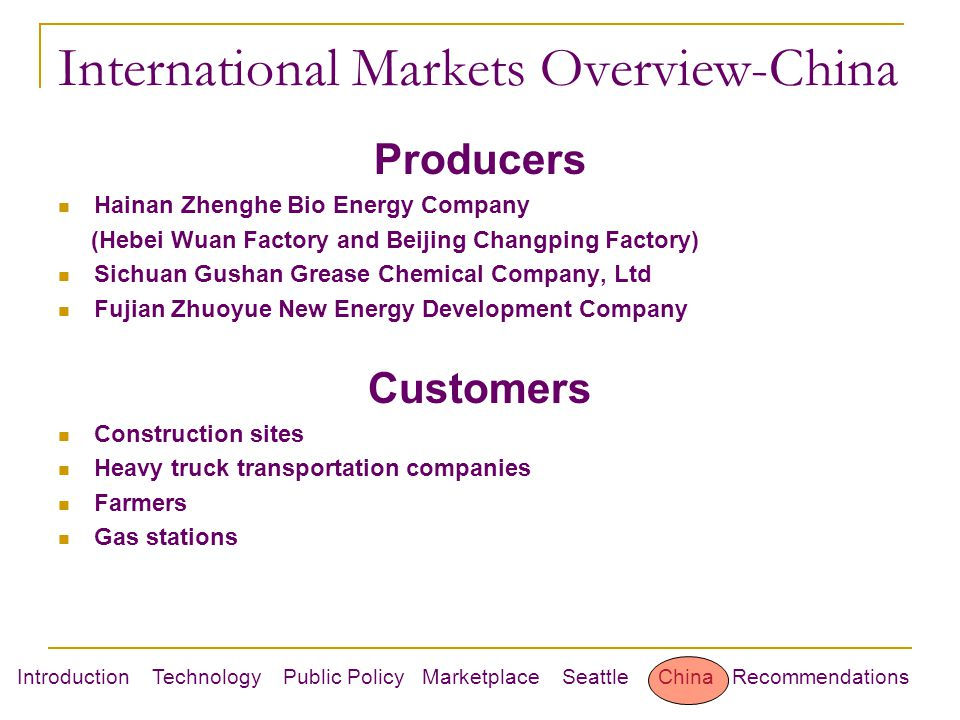 Introduction Technology Public Policy Marketplace Seattle China Recommendations International Markets Overview-China Producers Hainan Zhenghe Bio Energy Company (Hebei Wuan Factory and Beijing Changping Factory) Sichuan Gushan Grease Chemical Company, Ltd Fujian Zhuoyue New Energy Development Company Customers Construction sites Heavy truck transportation companies Farmers Gas stations