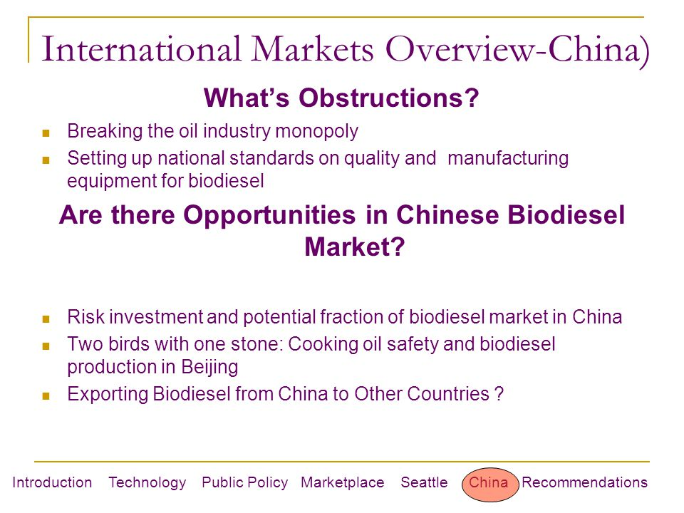 Introduction Technology Public Policy Marketplace Seattle China Recommendations International Markets Overview-China) What's Obstructions.