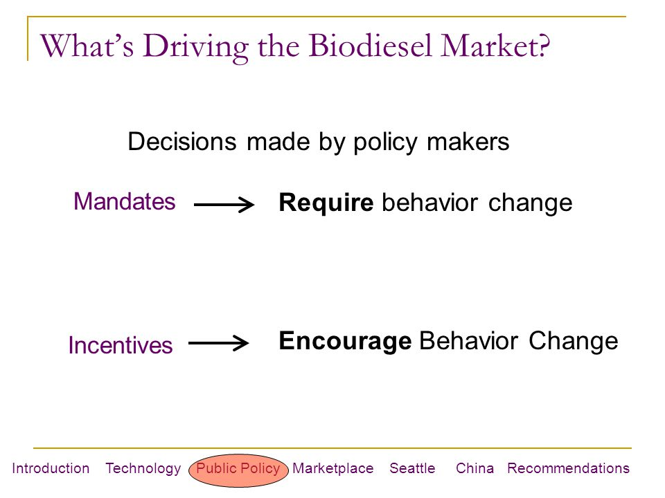 Introduction Technology Public Policy Marketplace Seattle China Recommendations What's Driving the Biodiesel Market.
