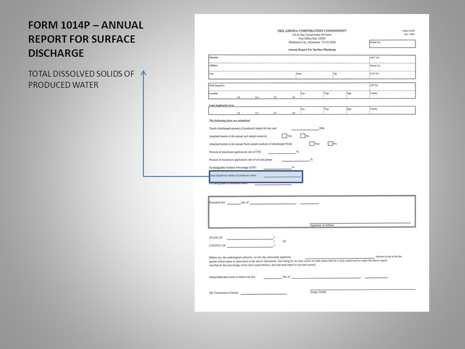 FORM 1014P – ANNUAL REPORT FOR SURFACE DISCHARGE TOTAL DISSOLVED SOLIDS OF PRODUCED WATER