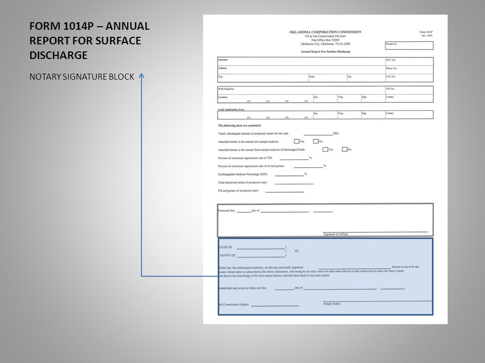 FORM 1014P – ANNUAL REPORT FOR SURFACE DISCHARGE NOTARY SIGNATURE BLOCK