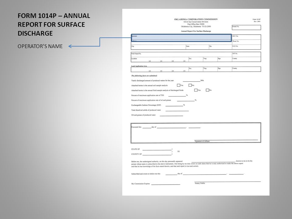 FORM 1014P – ANNUAL REPORT FOR SURFACE DISCHARGE OPERATOR'S NAME