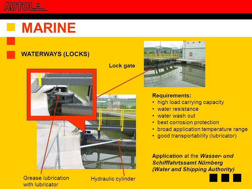 MARINE Grease lubrication with lubricator Hydraulic cylinder Lock gate Requirements: high load carrying capacity water resistance water wash out best corrosion protection broad application temperature range good transportability (lubricator) Application at the Wasser- und Schifffahrtssamt Nürnberg (Water and Shipping Authority) WATERWAYS (LOCKS)