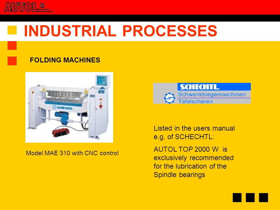 INDUSTRIAL PROCESSES Listed in the users manual e.g.