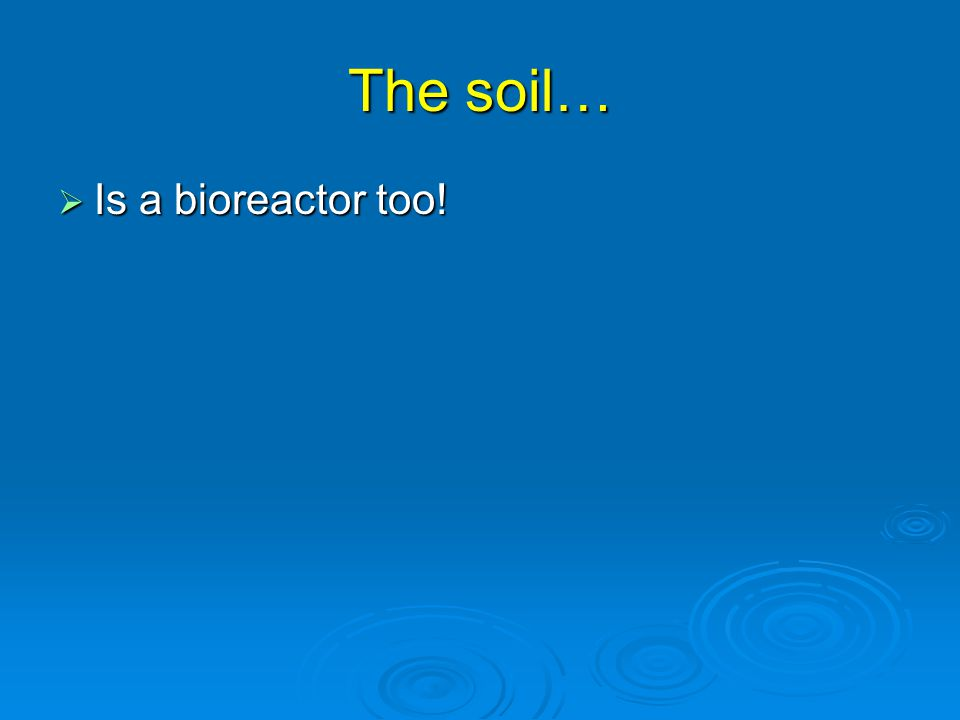 The soil…  Is a bioreactor too!