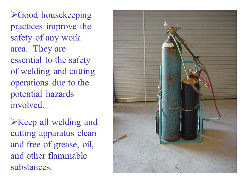  Ventilate welding and cutting work areas adequately.  Maintain sufficient air flow to prevent accumulation of explosive or toxic concentrations of