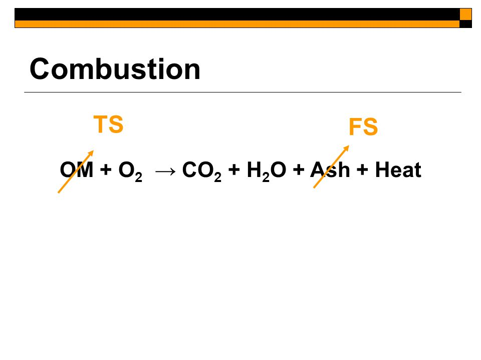 Combustion OM + O 2 → CO 2 + H 2 O + Ash + Heat TS FS