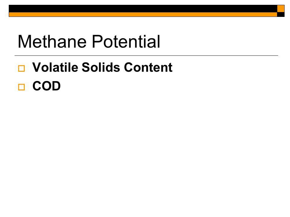 Methane Potential  Volatile Solids Content  COD