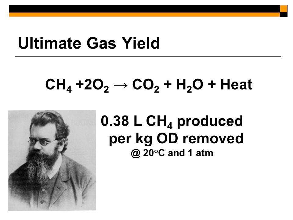 Ultimate Gas Yield CH 4 +2O 2 → CO 2 + H 2 O + Heat 0.38 L CH 4 produced per kg OD removed @ 20 o C and 1 atm