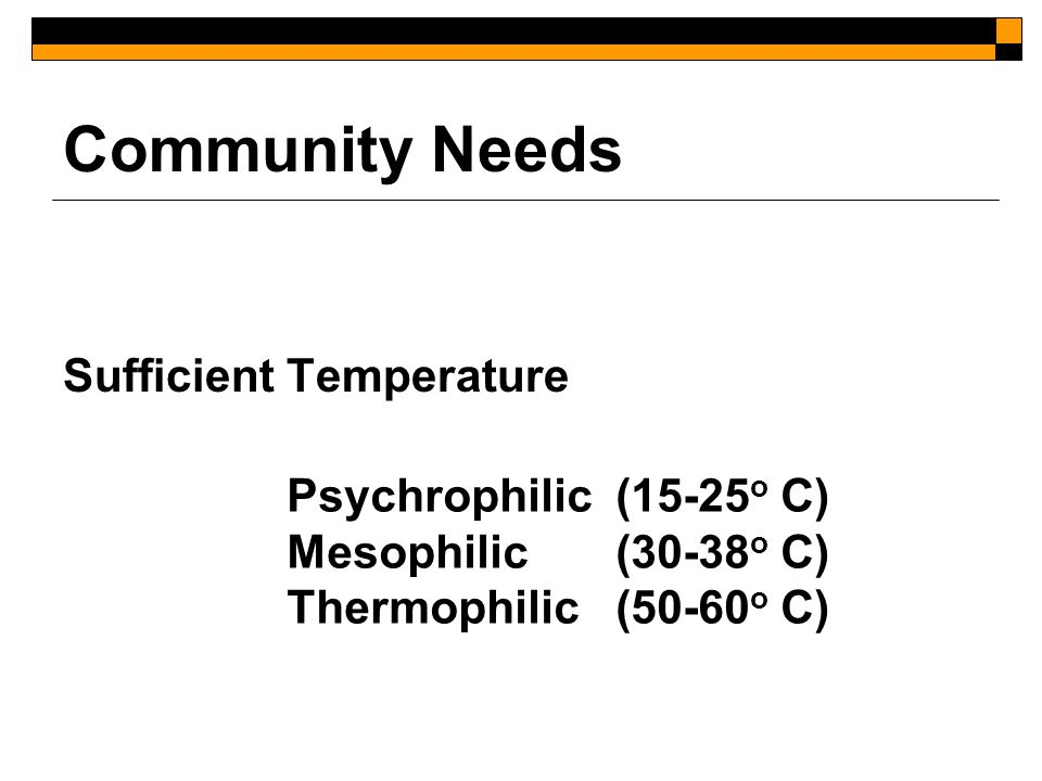 Community Needs Sufficient Temperature Psychrophilic (15-25 o C) Mesophilic (30-38 o C) Thermophilic (50-60 o C)