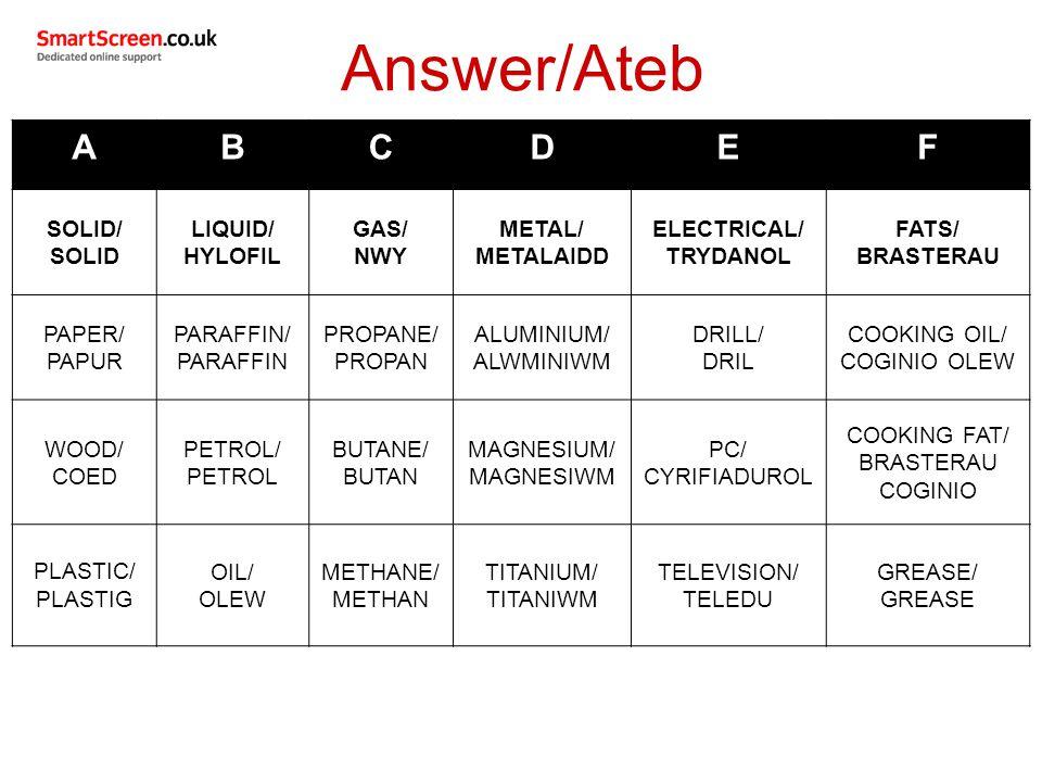 ABCDEF SOLID/ SOLID LIQUID/ HYLOFIL GAS/ NWY METAL/ METALAIDD ELECTRICAL/ TRYDANOL FATS/ BRASTERAU PAPER/ PAPUR PARAFFIN/ PARAFFIN PROPANE/ PROPAN ALUMINIUM/ ALWMINIWM DRILL/ DRIL COOKING OIL/ COGINIO OLEW WOOD/ COED PETROL/ PETROL BUTANE/ BUTAN MAGNESIUM/ MAGNESIWM PC/ CYRIFIADUROL COOKING FAT/ BRASTERAU COGINIO PLASTIC/ PLASTIG OIL/ OLEW METHANE/ METHAN TITANIUM/ TITANIWM TELEVISION/ TELEDU GREASE/ GREASE Answer/Ateb