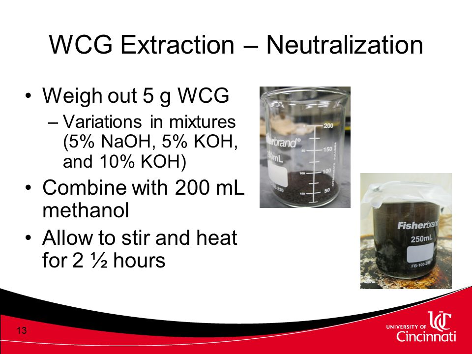 WCG Extraction – Neutralization Weigh out 5 g WCG –Variations in mixtures (5% NaOH, 5% KOH, and 10% KOH) Combine with 200 mL methanol Allow to stir an