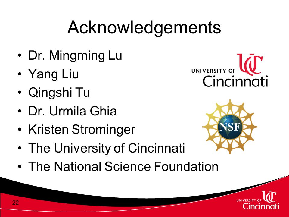 Acknowledgements Dr. Mingming Lu Yang Liu Qingshi Tu Dr. Urmila Ghia Kristen Strominger The University of Cincinnati The National Science Foundation 2