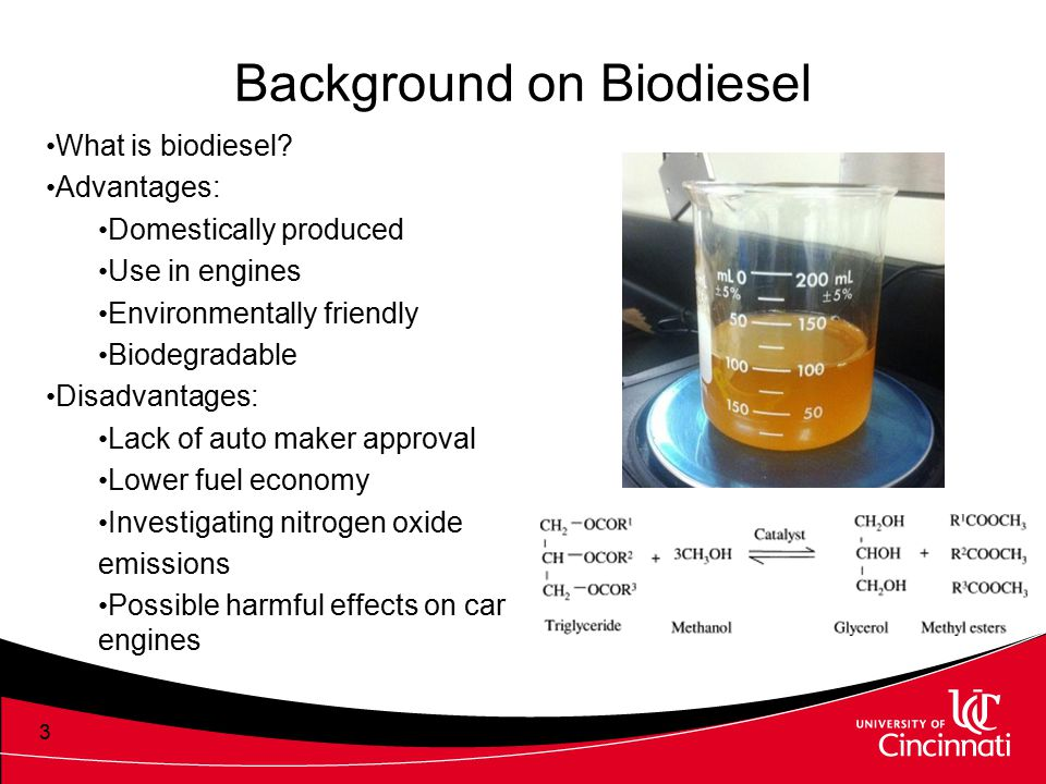 3 Background on Biodiesel What is biodiesel? Advantages: Domestically produced Use in engines Environmentally friendly Biodegradable Disadvantages: La