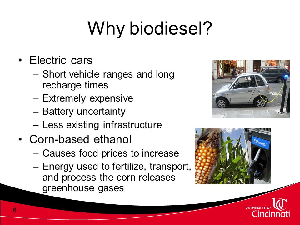 Why biodiesel? Electric cars –Short vehicle ranges and long recharge times –Extremely expensive –Battery uncertainty –Less existing infrastructure Cor