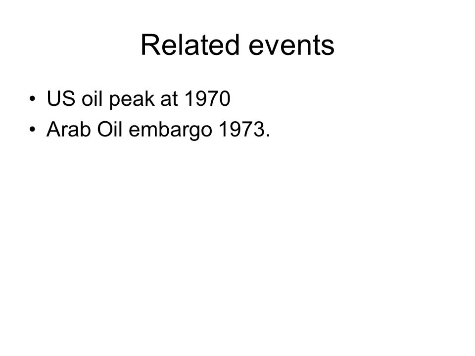 Related events US oil peak at 1970 Arab Oil embargo 1973.