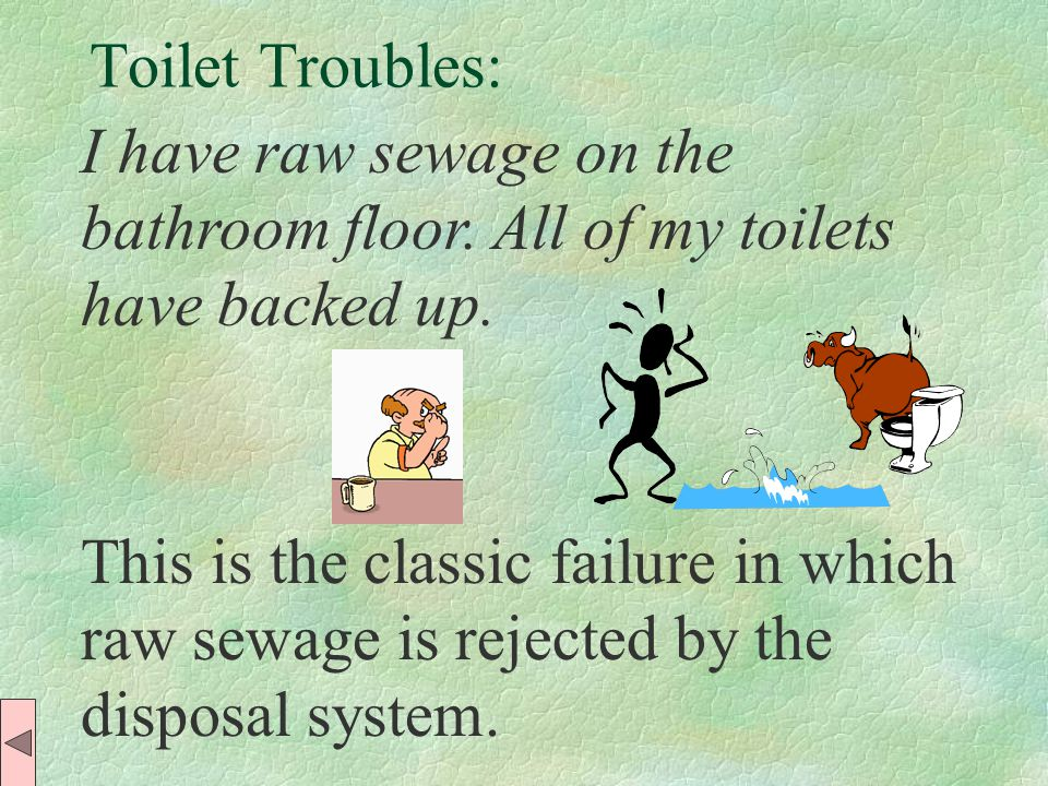 Toilet Troubles: This is the classic failure in which raw sewage is rejected by the disposal system.