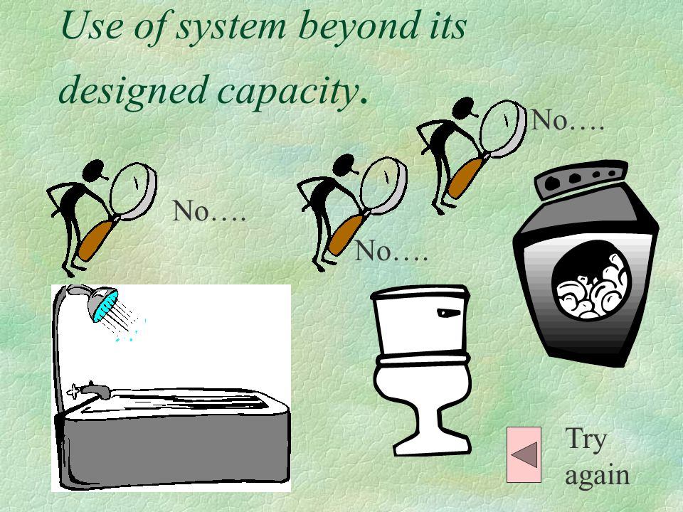 List some possible causes: Use of system beyond its designed capacity.