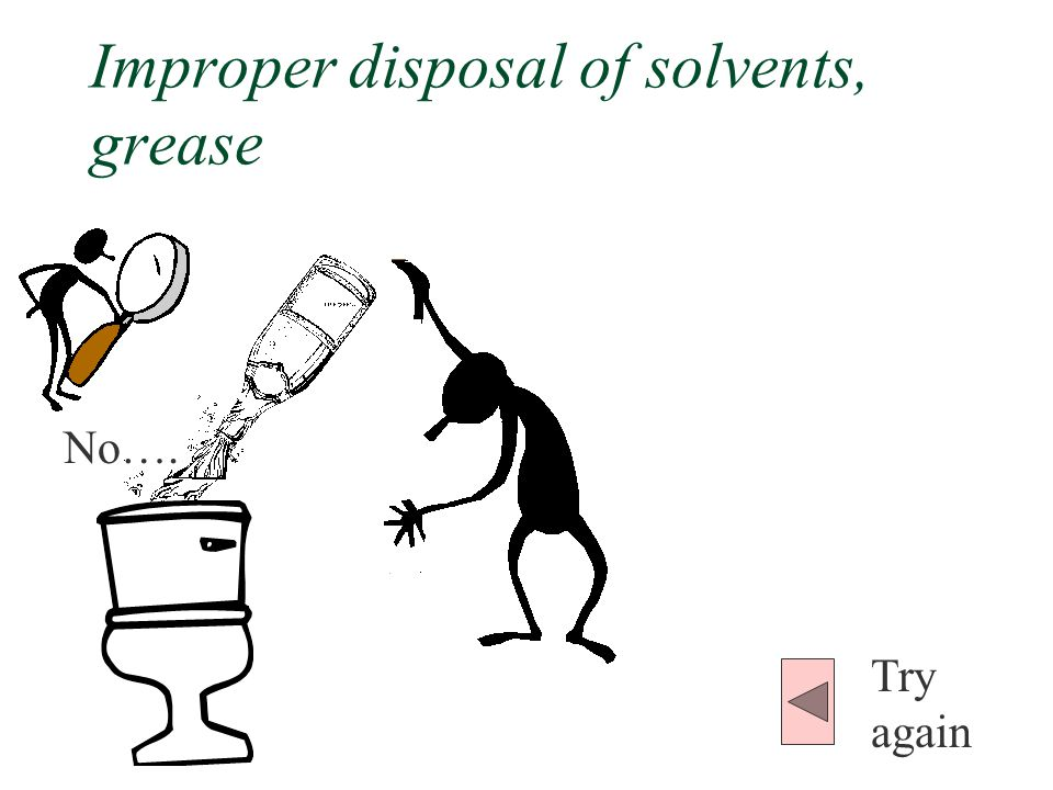 Improper disposal of solvents, grease No…. Try again