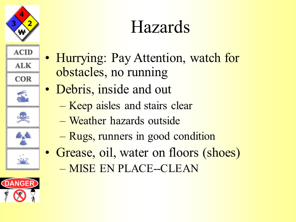Hazards Hurrying: Pay Attention, watch for obstacles, no running Debris, inside and out –Keep aisles and stairs clear –Weather hazards outside –Rugs, runners in good condition Grease, oil, water on floors (shoes) –MISE EN PLACE--CLEAN