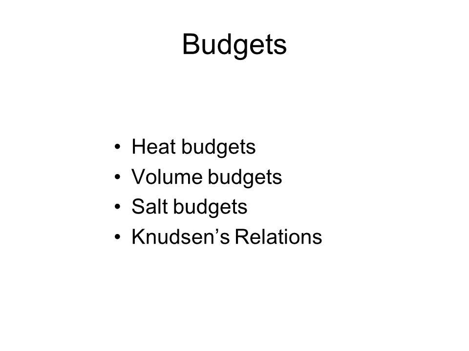 Budgets Heat budgets Volume budgets Salt budgets Knudsen's Relations