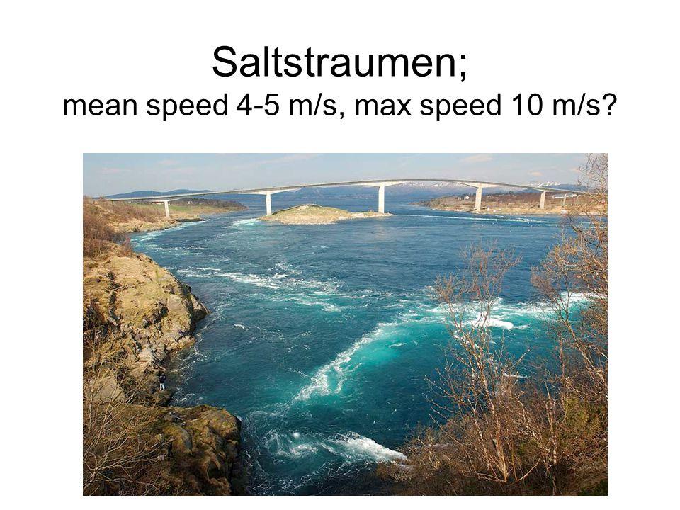 Saltstraumen; mean speed 4-5 m/s, max speed 10 m/s