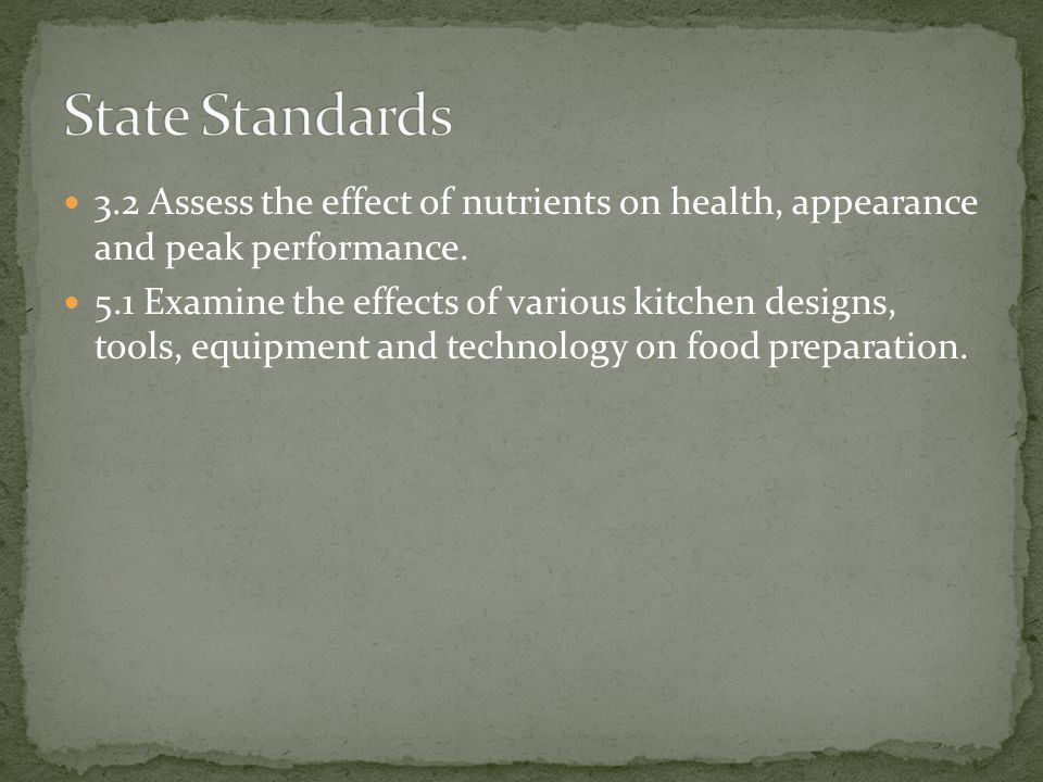 3.2 Assess the effect of nutrients on health, appearance and peak performance.