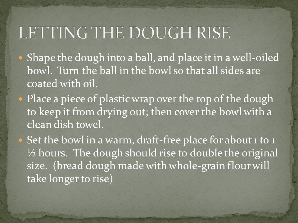 Shape the dough into a ball, and place it in a well-oiled bowl.