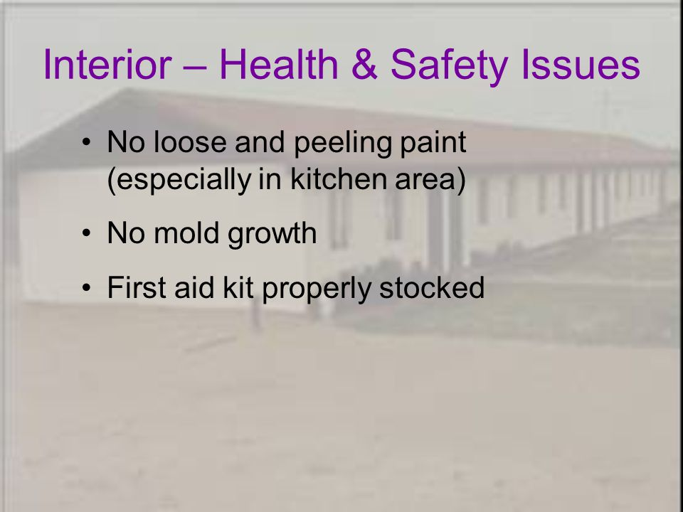 Interior – Health & Safety Issues No loose and peeling paint (especially in kitchen area) No mold growth First aid kit properly stocked