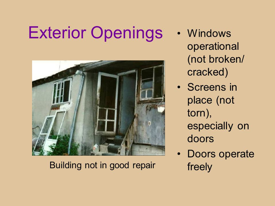 Exterior Openings Windows operational (not broken/ cracked) Screens in place (not torn), especially on doors Doors operate freely Building not in good repair