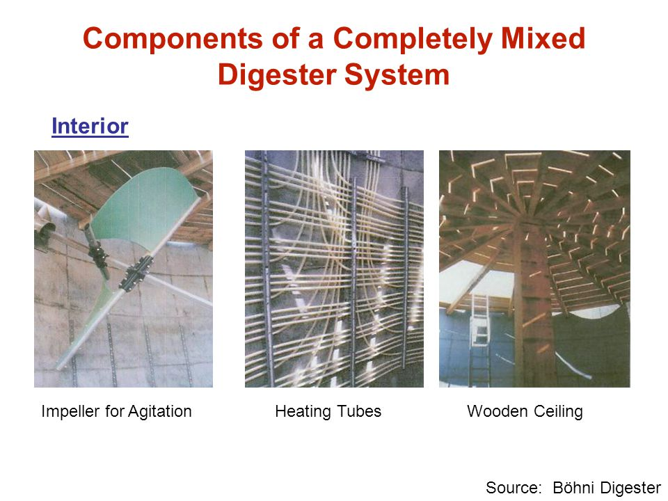 Interior Source: Böhni Digester Components of a Completely Mixed Digester System Impeller for AgitationHeating TubesWooden Ceiling
