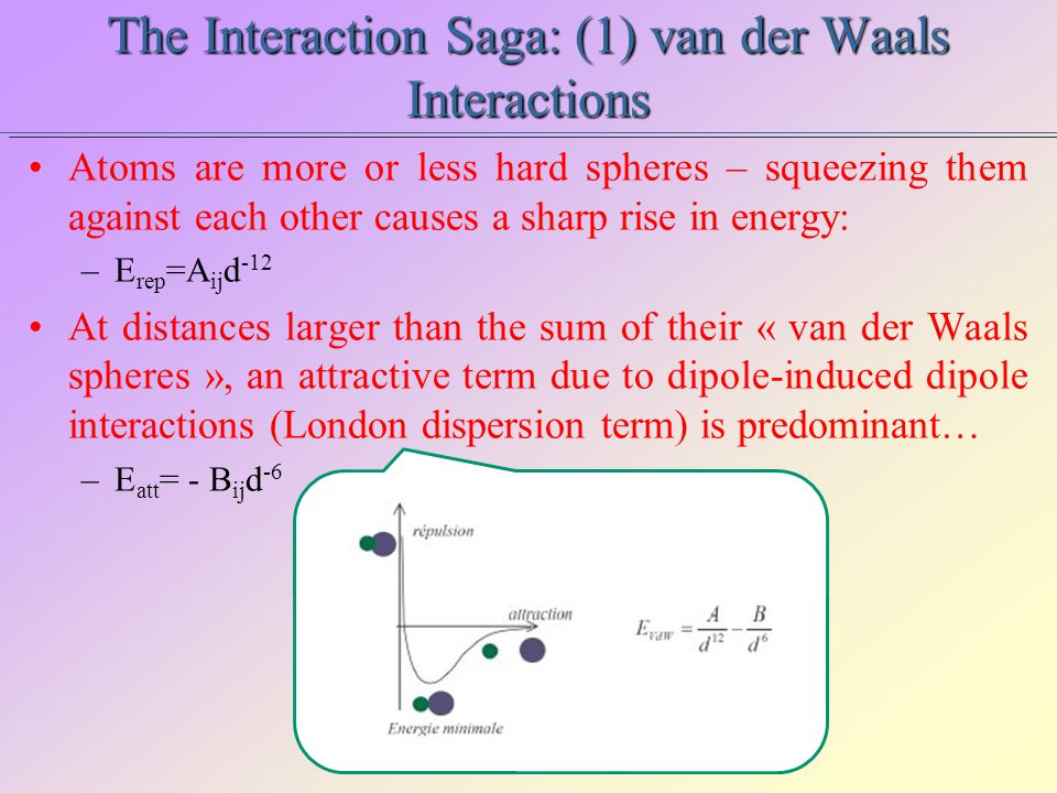 The Interaction Saga: (2) Electrostatics & Solvation Coulomb charge-charge interactions are easy to compute, once the partial charges Q k are assigned on the atoms… –E Coul =Q i Q j /4  d … and the solvent molecules are explicitly modeled – accountig for all the possible solvation shell structures, in order to estimate a solvation free energy.