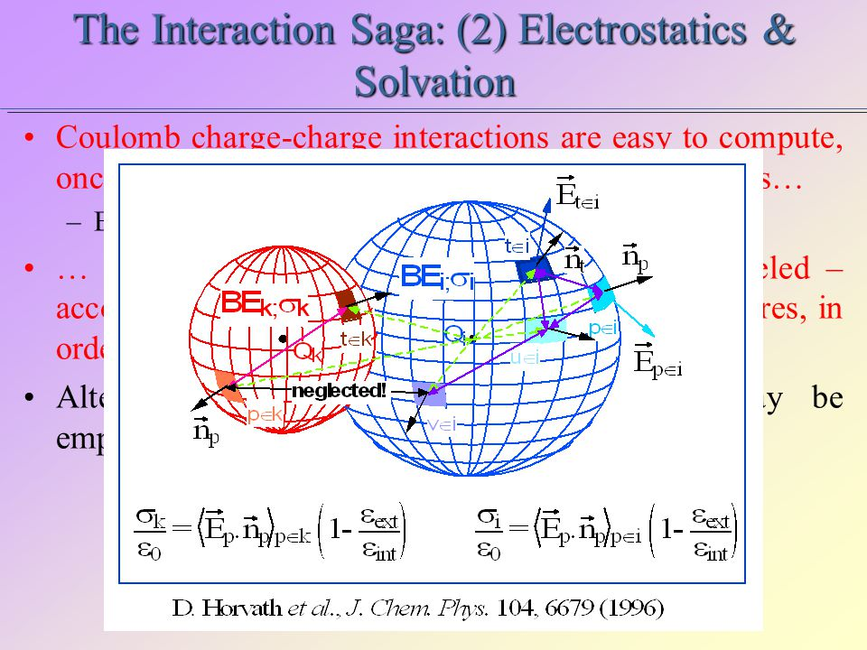 The Interaction Saga: (2) Electrostatics & Solvation Coulomb charge-charge interactions are easy to compute, once the partial charges Q k are assigned