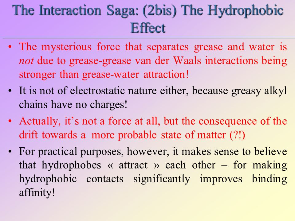 The Interaction Saga: (2bis) The Hydrophobic Effect The mysterious force that separates grease and water is not due to grease-grease van der Waals interactions being stronger than grease-water attraction.