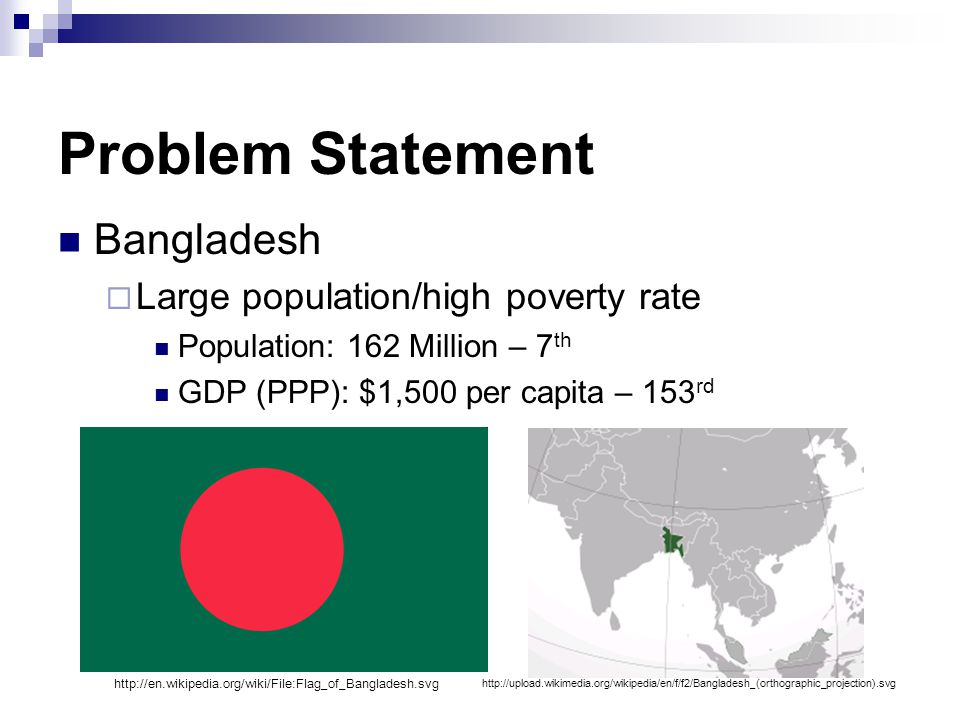 Problem Statement Bangladesh  Large population/high poverty rate Population: 162 Million – 7 th GDP (PPP): $1,500 per capita – 153 rd http://upload.wikimedia.org/wikipedia/en/f/f2/Bangladesh_(orthographic_projection).svg http://en.wikipedia.org/wiki/File:Flag_of_Bangladesh.svg