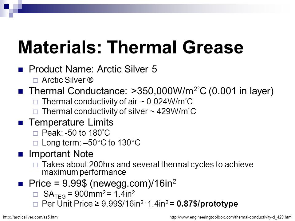 Materials: Thermal Grease Product Name: Arctic Silver 5  Arctic Silver ® Thermal Conductance: >350,000W/m 2° C (0.001 in layer)  Thermal conductivit