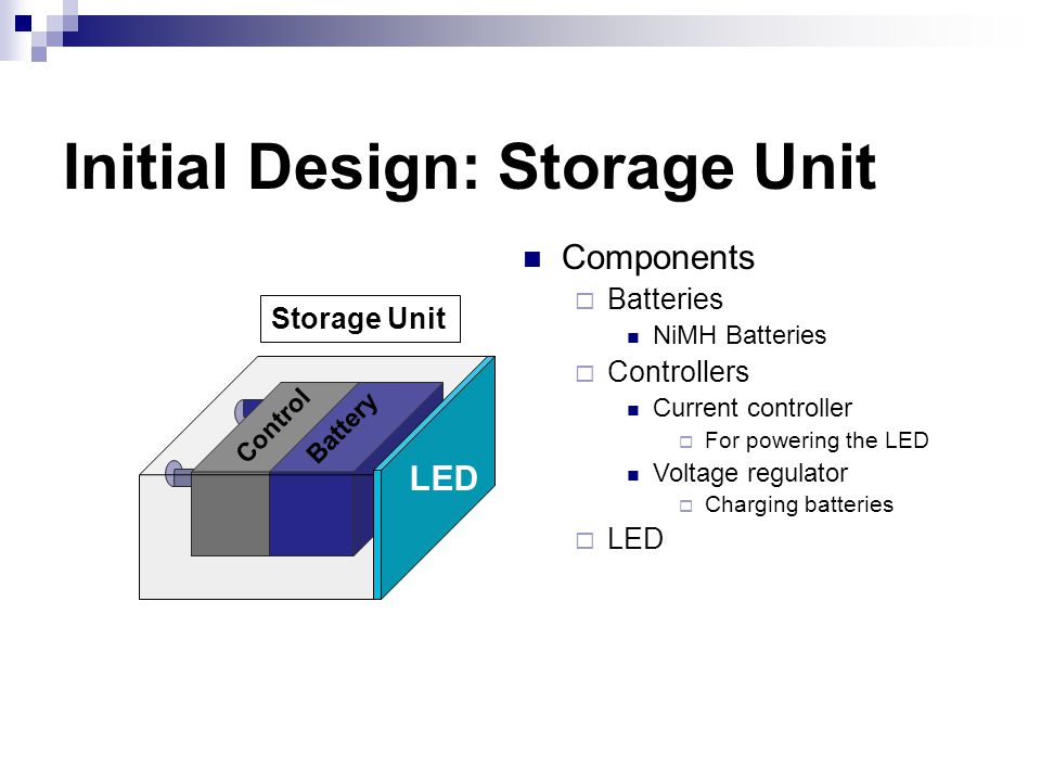Initial Design: Storage Unit LED Control Battery Storage Unit Components  Batteries NiMH Batteries  Controllers Current controller  For powering the LED Voltage regulator  Charging batteries  LED