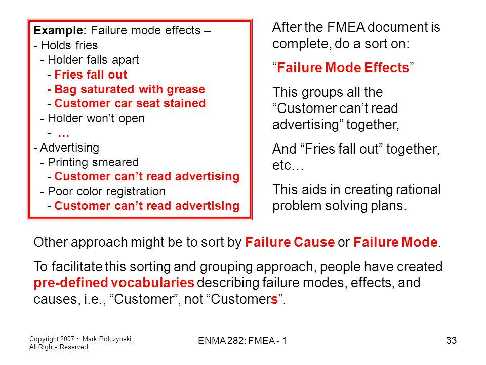 Copyright 2007 ~ Mark Polczynski All Rights Reserved ENMA 282: FMEA - 133 Example: Failure mode effects – - Holds fries - Holder falls apart - Fries f