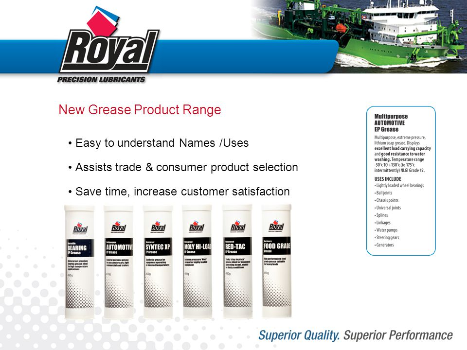 New Grease Product Range Easy to understand Names /Uses Assists trade & consumer product selection Save time, increase customer satisfaction