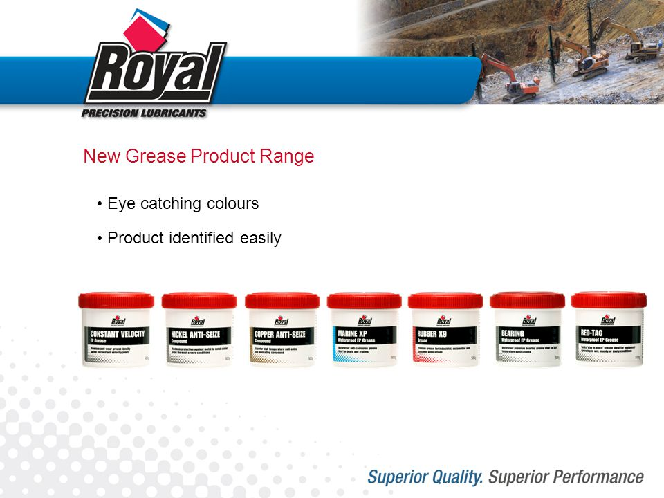 New Grease Product Range Eye catching colours Product identified easily