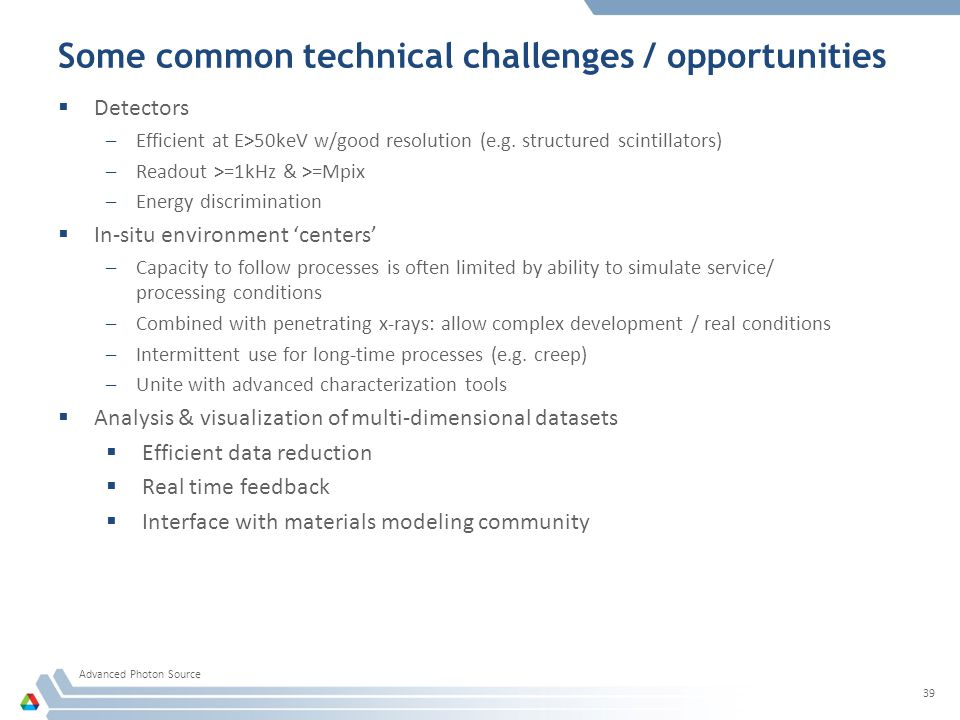 Some common technical challenges / opportunities Advanced Photon Source 39  Detectors –Efficient at E>50keV w/good resolution (e.g.
