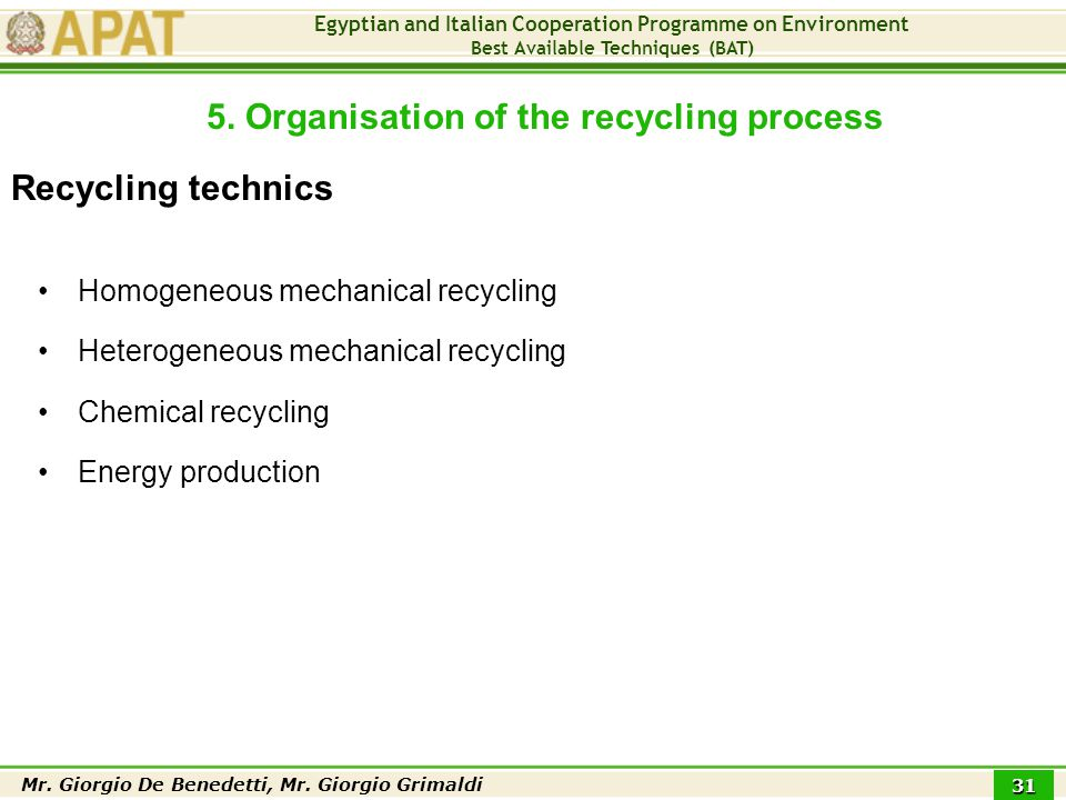 Egyptian and Italian Cooperation Programme on Environment Best Available Techniques (BAT) Mr.