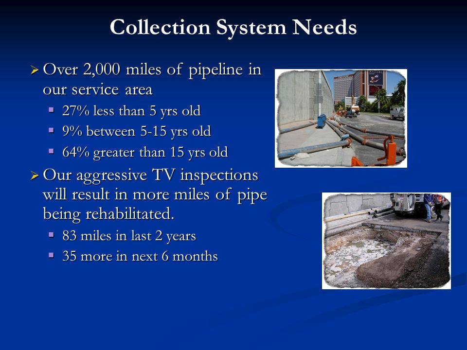 Collection System Needs  Over 2,000 miles of pipeline in our service area  27% less than 5 yrs old  9% between 5-15 yrs old  64% greater than 15 yrs old  Our aggressive TV inspections will result in more miles of pipe being rehabilitated.