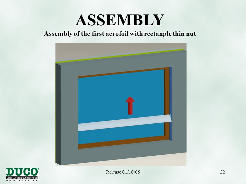 Release 01/10/0522 ASSEMBLY Assembly of the first aerofoil with rectangle thin nut