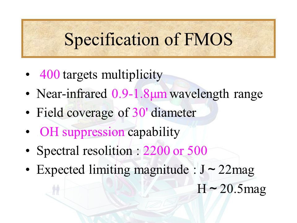 Specification of FMOS.400 targets multiplicity Near-infrared 0.9-1.8μm wavelength range Field coverage of 30' diameter.OH suppression capability Spect