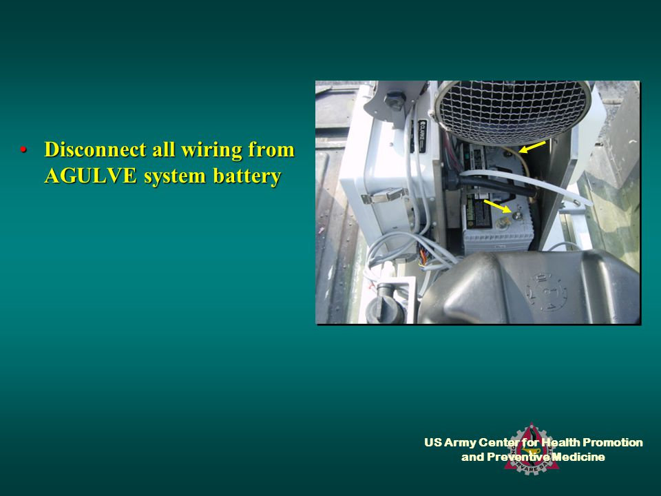 US Army Center for Health Promotion and Preventive Medicine Disconnect all wiring from AGULVE system batteryDisconnect all wiring from AGULVE system battery