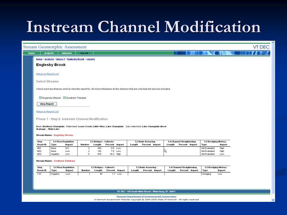 Instream Channel Modification